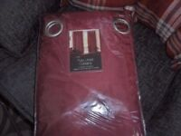 Faux silk eyelet curtains lined mulberry wine colour 9oin x108 bnip.