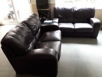 Two Contempo Italian Brown Leather Sofas