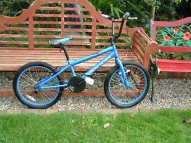 "Harlem SX100 BMX bike 20"" wheels, Matt blue, Rear pegs, sticky grips, great condition"