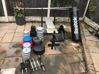 Weights bench, weights and punch bag
