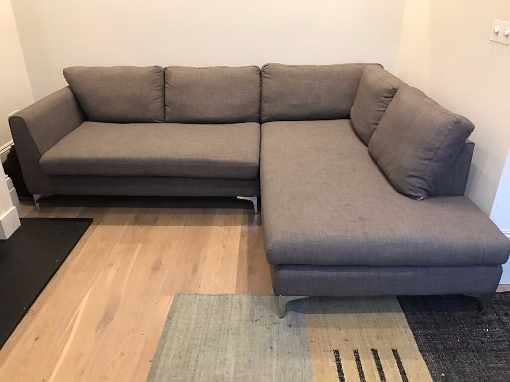Modern Corner Sofa Right In Medium Grey Fabric 15 Months Old 1