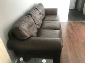 3 seater Brown Leather Sofa x2