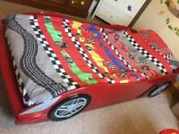 Children's racing car bed set! Single bed, mattress, duvet set, sheet and curtains!