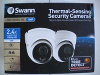 SWANN 2 X 5MP THERMAL SENSING CCTV DOME CAMERAS SECURITY SAFETY DAY AND NGHT VISION