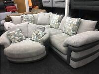 New/Ex Display Harveys Ashmore Cord Corner Sofa + Cuddle Swivel Chair