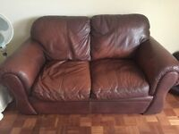 Large Brown Leather Three Piece Suite
