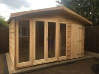 Summer house, Sheds, Chalet, Combi, Garden Sheds Larch over Board 12 x 8 By Any Shed Made To Order