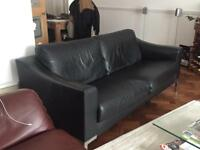 Luxury black leather 3-Seater sofa with chrome legs