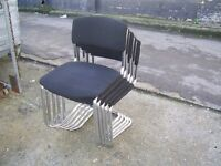 HOME OR OFFICE BLACK PADDED STACKING CHAIRS 5 FOR SALE ALL GOOD CONDITION