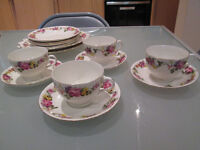 Teacups and Saucers Set - Flower Print with Gold Trim