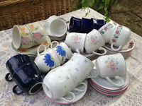 Mis-matched cups and saucers