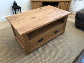 Dunelm Fenton Solid Wood Coffee Table With Drawers