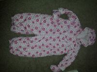 GIRLS PINK FLOWERY (MOTHERCARE) SNOWSUIT (6-9 MONTHS)