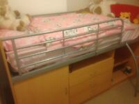 Cabin bed good condition three drawers and cupboard under bed