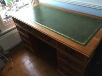 Vintage style leather top wooden desk