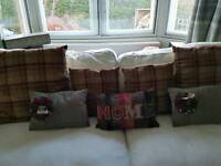 Red checked tweed woven cushion covers