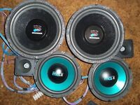 CAR SPEAKERS 2 BASS 2 MID AND 2 TWEETERS VERY TIDY A BARGAIN AT £50...