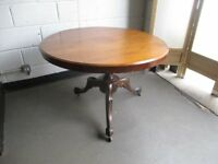 VINTAGE MAHOGANY ROUND SINGLE PEDESTAL DINING TABLE