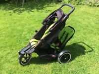 Phil & Teds Explorer double buggy with newborn bassinet