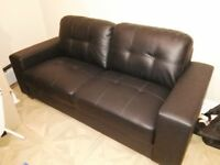 Sofa - navy faux leather - excellent condition