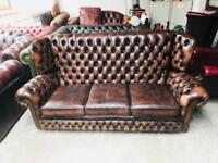 Stunning brow leather vintage wingback highback 3 seater sofa Chesterfield UK delivery