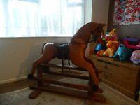 Handmade Carved wood child's platform rocking horse