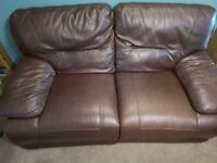 2 matching dark brown leather recliner sofas- £175- collection only- Norwich