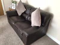 Brown Real Leather Sofas (3 seater and 2 seater)