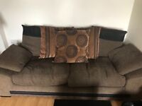 Brown 3 seater sofa and swivel chair - great condition