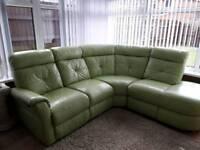 Green leather corner setee