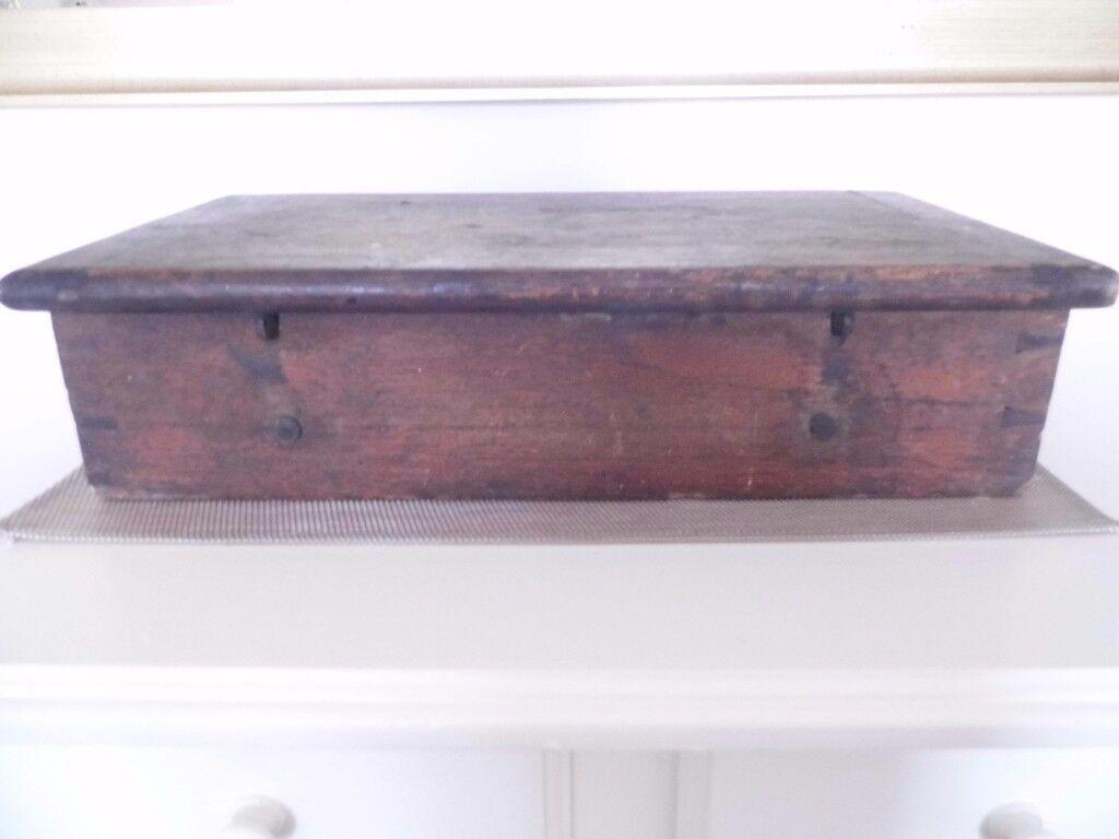 ANTIQUE CIRCA 1900 SOLID OAK TOOL BOX DEED BOX