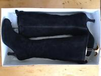 L.K. Bennett Black Suede Knee High Boots size 36