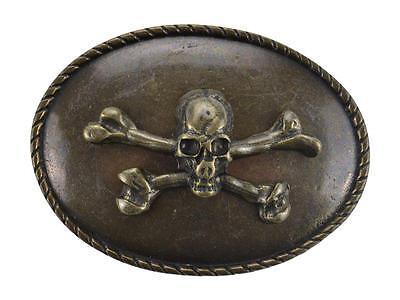 Fibbia per cinture con teschio rilievo metallo bronzo o argento forma ovale