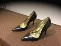 Dune high heel black leather smart shoes size 38/5 and Next Nude patent shoes Size 37.5 /4.5
