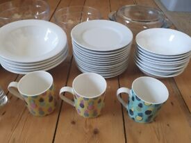 Plates, bowls, glasses and mugs, £1 each!