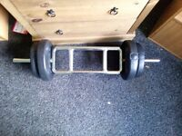 Bicep/tricep bar and weights 22kg total
