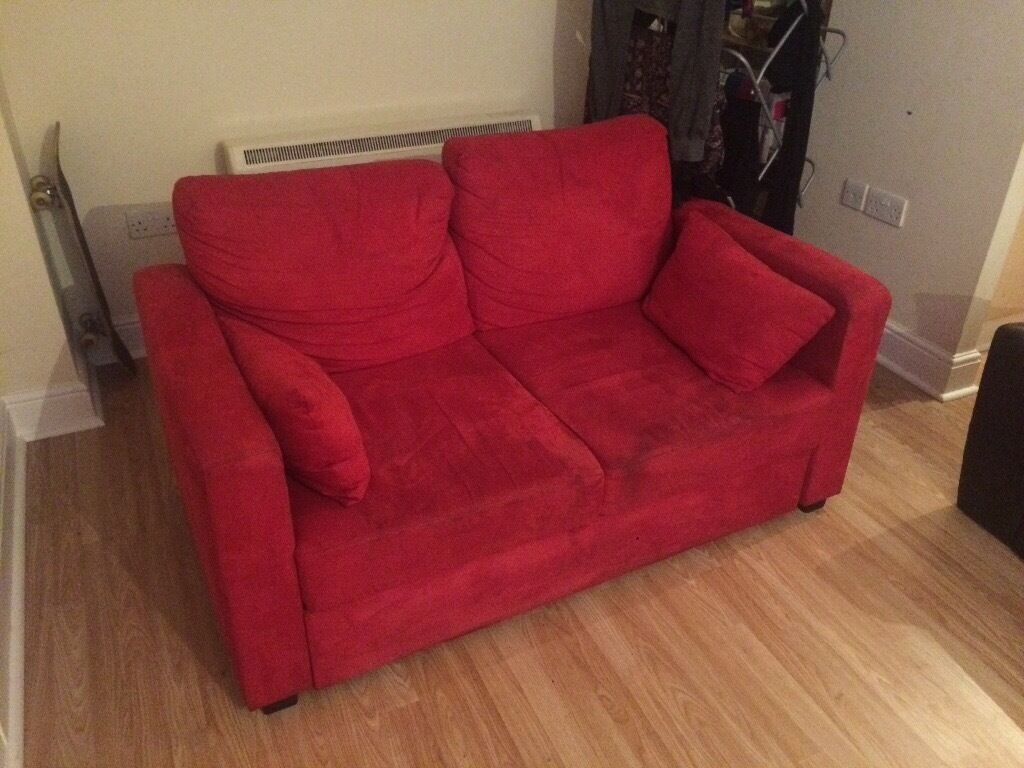 Red Suede Sofa Bed 110cm X 220cm