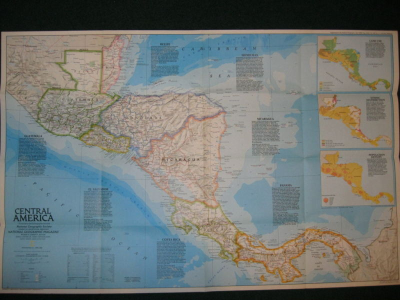 1986 CENTRAL AMERICA  NATIONAL GEOGRAPHIC MAP