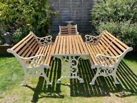 7 seater cast iron garden furniture set with Oak slats