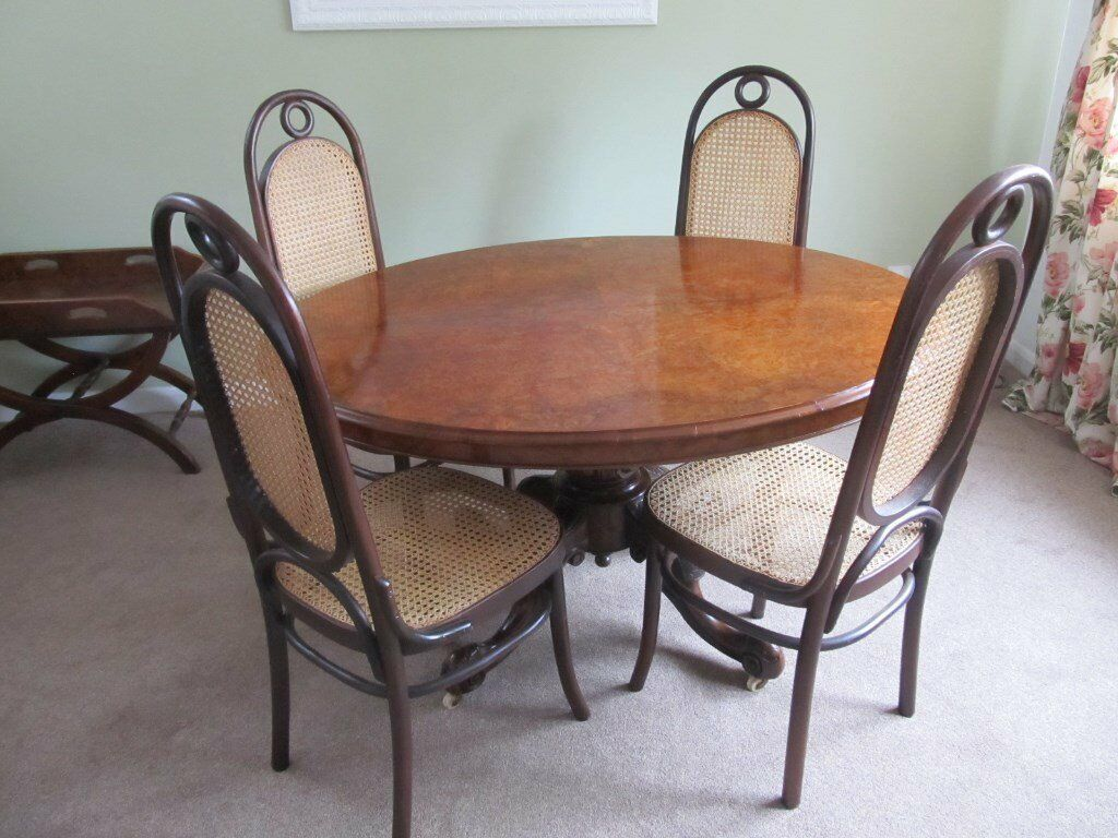 Four French Bentwood Bergere Dining Chairs
