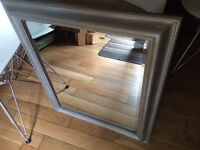 Great beveled mirror, solid wood frame, grey shabby sheek