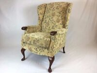 High Wing Back Easy Chair - Floral Pattern Fireside Chair With Cabriole Legs