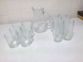 glass 1 litre water pitcher with 12 glasses