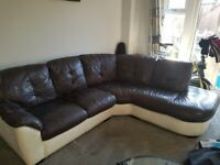 Leather sofa and snuggle chair