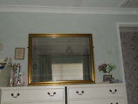Large antique gold framed mirror, 85cm high x 110cm wide in excellent condition