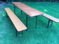 Original german beer Keller folding table & bench set
