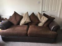 Half leather half material sofa and chair