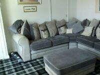 Corner sofa two tone grey, soft cover with large pouffe