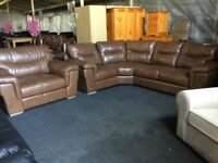 scs large Real leather corner sofa and snuggler chair rrp £4098