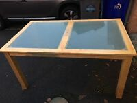 Pine table with glass inlay and 4 chairs